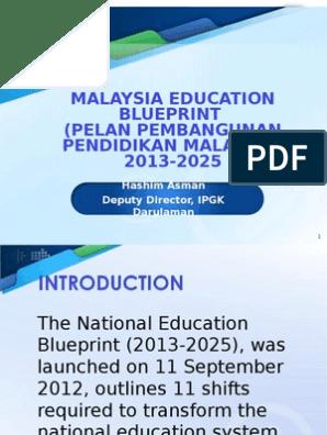 Malaysia Education Blueprint Traditions Curriculum