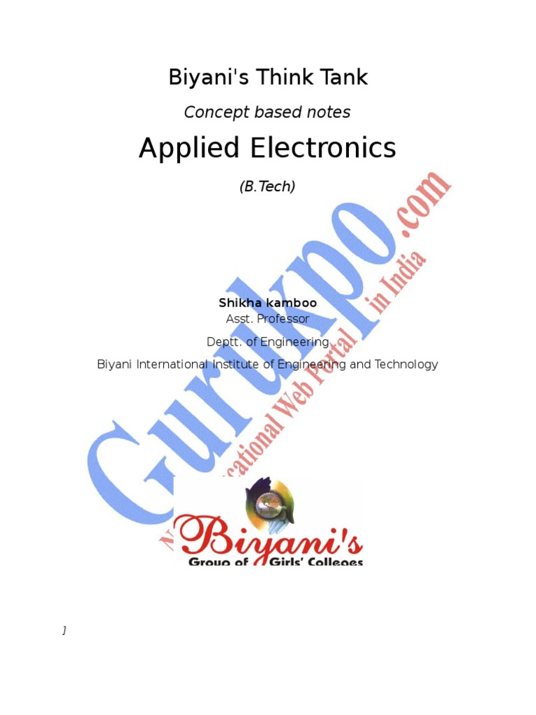 Applied Electronics Operational Amplifier Rectifier Subtractorcomparator Circuits Integraterdifferentiator