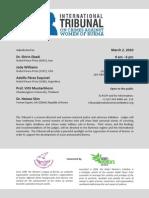 Invitation to Tribunal