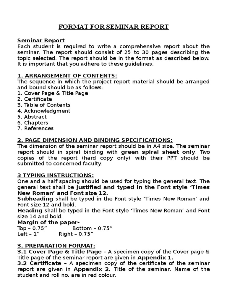 Format for seminar report 1 citation abstract summary yelopaper Gallery