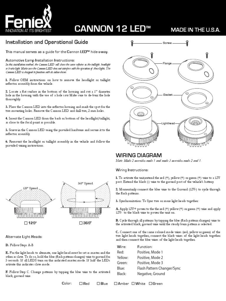 Feniex Cannon Installation Guide Headlamp Flash Photography