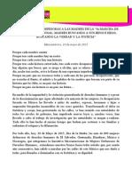 """MENSAJE DE LA IM-DEFESORAS A LAS MADRES DE LA """"4a MARCHA DE LA DIGNIDAD NACIONAL. MADRES BUSCANDO A SUS HIJOS E HIJAS; BUSCANDO LA VERDAD Y LA JUSTICIA"""""""
