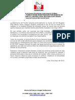 09.05.15 Defensoría del Pueblo exige investigación por muerte de policía que cumplía labores para restablecer orden