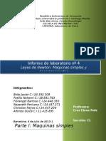 Informe de Laboratorio Nº4 Leyes de Newton. Maquinas Simples y Desplazamientos Sobre Un Plano