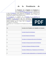 15 Secretarías de La Presidencia de Guatemala