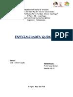 especialuidades quimica. Formulaciones