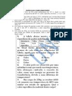 EXERCICIOS COMPLEMENTARES-CAlorimetria