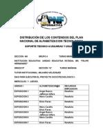 Distribucion de Los Contenidos Del Plan Nacional de Alfabetizacion Tecnologica 1