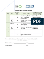 pcelt observed teaching record