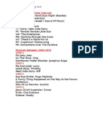 Liam Dodds- Interval Songs and Musicals List