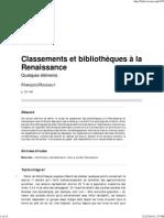 Classements Et Bibliotheques-Renaissance