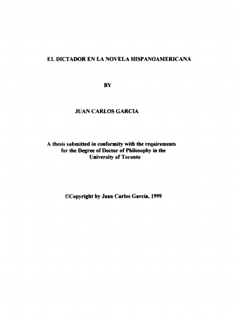 El Dictador en La Novela Hispanoamericana