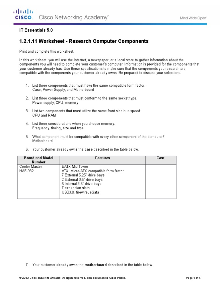 12111 Worksheet Research Computer Components 1 – Computer Parts Worksheet