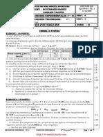 Devoir de Synthèse N° 1 - Physique - 4ème Sc et Tech (2009-2010)