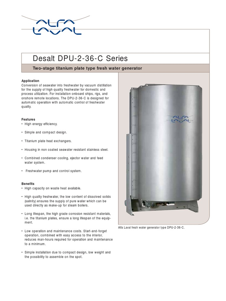 DPU, Two-stage Titanium Plate Type Fresh Water Generator | Building