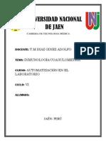 INMULOGIA CUOAGULOMETRIA AUTOMATIZACION DE EQUIPOS