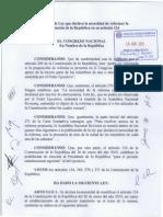 Proyecto de Ley que declara la necesidad de la reforma constitucional 2015