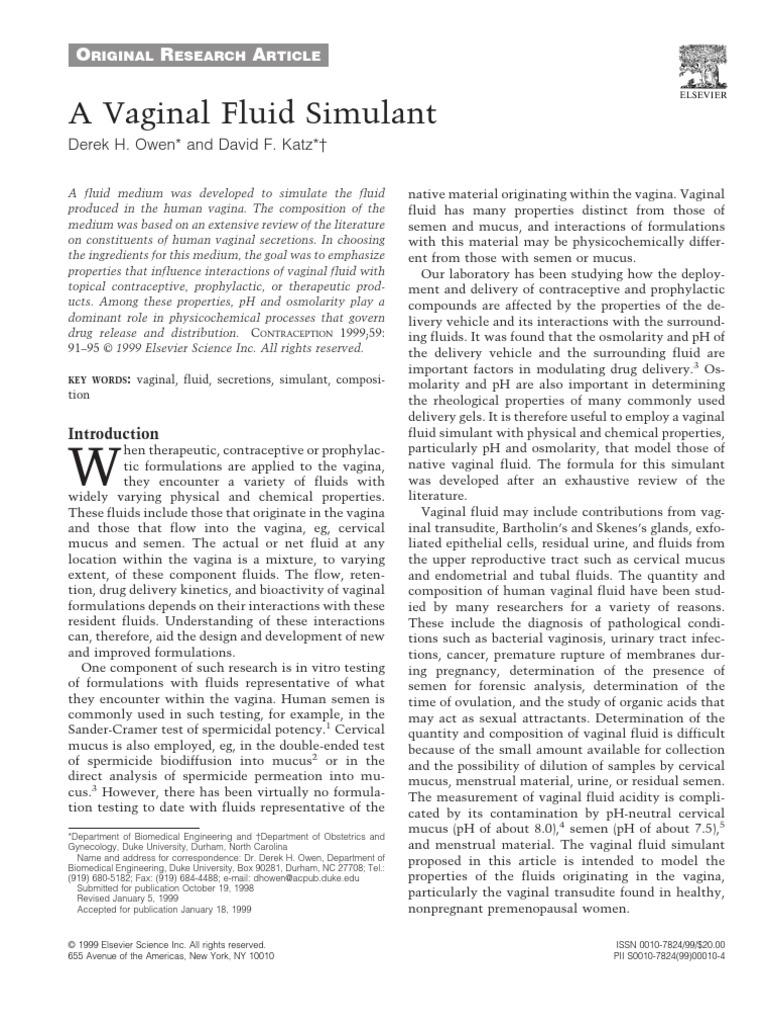 Vaginal secretion chemical composition