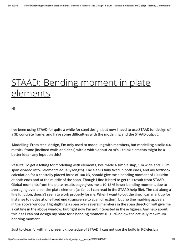STAAD_ Bending Moment in Plate Elements - Structural Analysis and