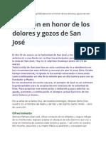 Devoción Dolores y Gozos de San José