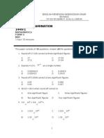 Mid Year Math Form 4