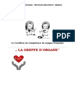 PROJET LA GREFFE D ORGANES Atestat Franceza Bacalaureat