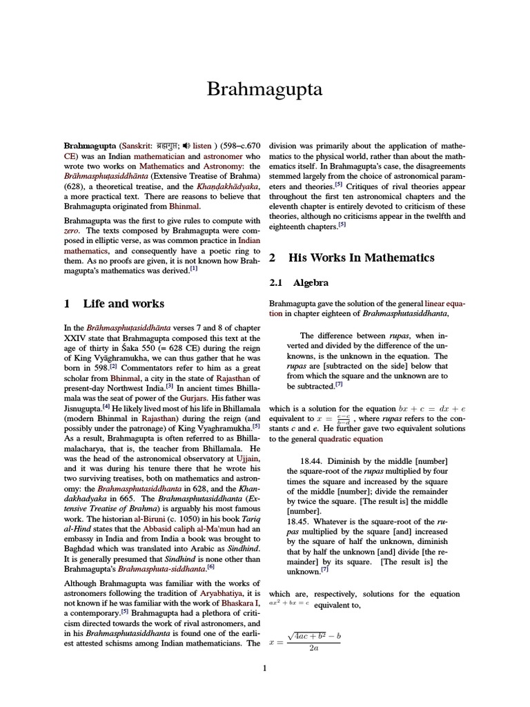 information about mathematician brahmagupta