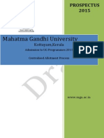 Draft Prospectus for MG university CAP