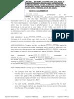 Service Agreement Specimen