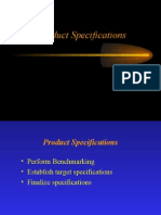 Benchmarking and Product Specification