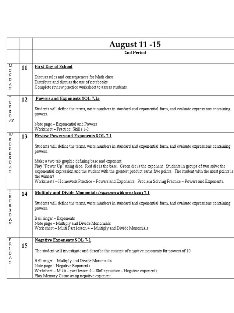 worksheet Powers Of Monomials Worksheet lessonplanbooktemplate 2014 math 7 week 1 8 14 exponentiation multiplication