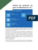 Formas de Arancar Windows 8- 8.1
