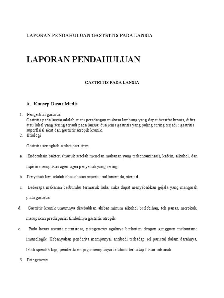 Laporan Pendahuluan Gastritis Pada Lansia