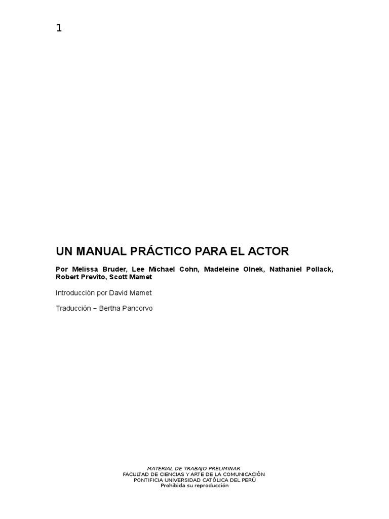 Un Manual Practico Para El Actor
