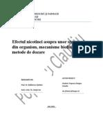 Efectul nicotinei asupra unor structuri din organism, mecanisme biofizice și metode de dozare