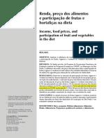 Renda, Preço Dos Alimentos e Participação de Frutas e Hortaliças Na Dieta