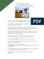Human & Ecosystem Biology Notes IGCSE 2014