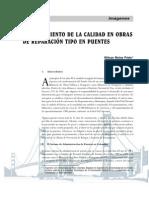 Aseguramiento de la calidad en obras de reparación tipo en puentes