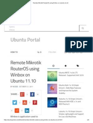 Remote Mikrotik RouterOS Using Winbox on Ubuntu 11 | Ubuntu