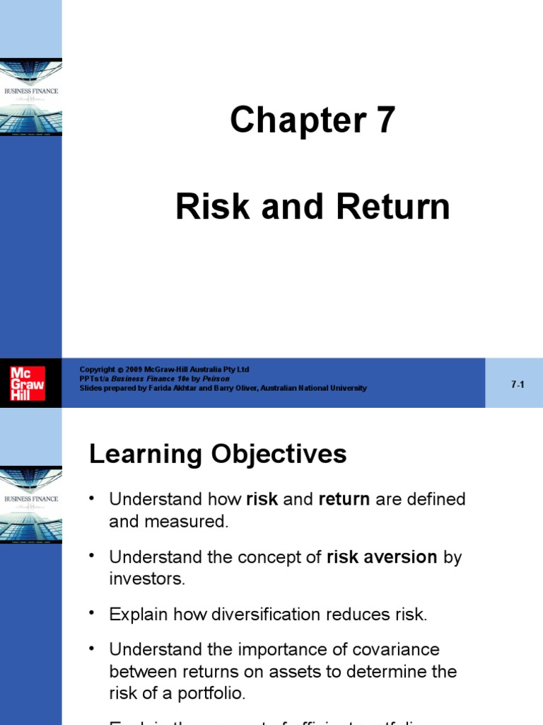 Peirson Business Finance10e PowerPoint 07 | Capital Asset Pricing Model |  Diversification (Finance)