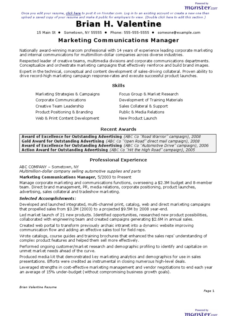 CV Marketing Communications Manager Resume | Sales | Marketing