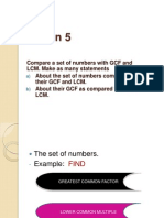 Compare a set of numbers with GCF and LCM