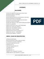 Índice Especificaciones Tecnicas La Paz
