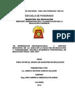 Tesis Para Optar El Grado de Magister - Aprendizaje Organizacional y Gestion Educativa - Lic. Marco Antonio Garcia Salazar