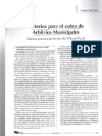 Criterios Para El Cobro de Arbitrios Municipales