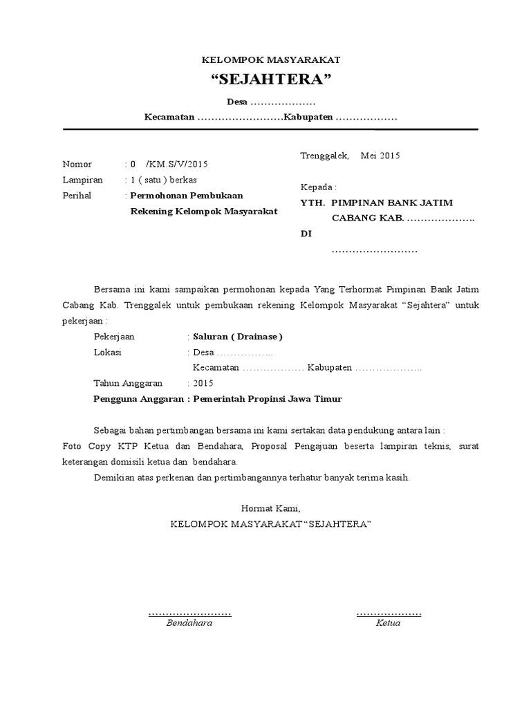 Format Permohonan Pembukaan Rekening Bank Jatim Untuk Kelompok