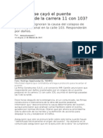Por Qué Se Cayó El Puente Peatonal de La Carrera 11 Con 103