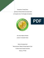 Johnson Behavioral System Model Weakness in Nursing Practice