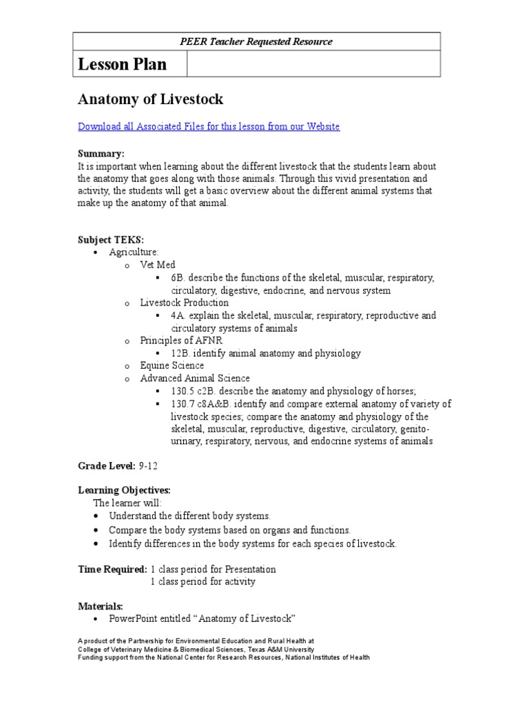 anatomy of livestock lesson plan | Blood | Gastrointestinal Tract