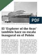 150512 La Verdad CG- El 'Explorer of the Seas' También Hace Su Escala Inaugural en El Peñón p.9